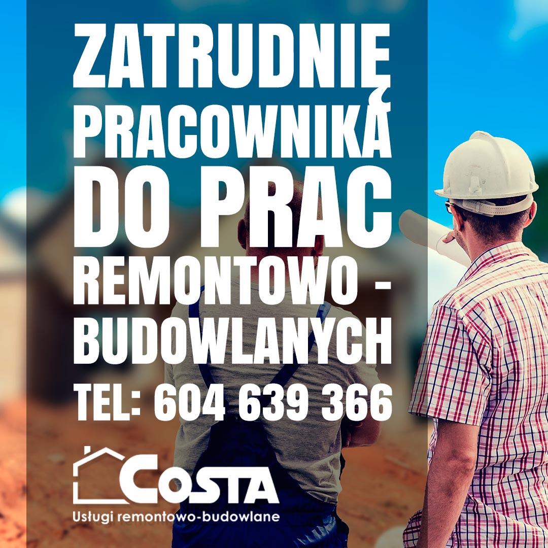 Zatrudnię pracownika do prac remontowo-budowlanych costabud pl